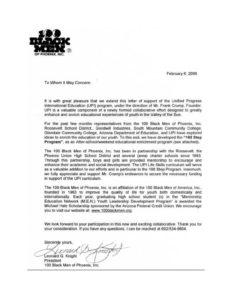 UPI Education, 100 Black Men of Phoenix - Letter of Support