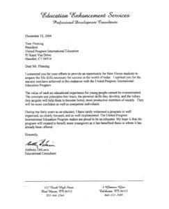 UPI Education, Education Enhancement Services, Anthony DeLucia, Letter of support