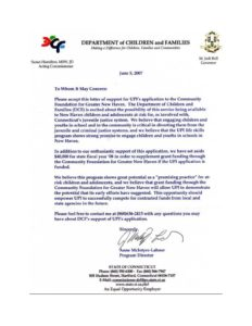 UPI Education, Department of Children and Families - Letter of Support
