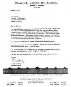 UPI Education, Larry Conaway Letter 2005