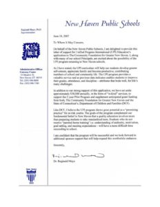UPI Education, New Haven Public Schools - 2007 Letter of Support