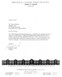 UPI Education, Testimonial, Robert Canelli Letter