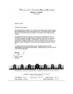 UPI Education, Wilbur L Cross High School - Letter of Support